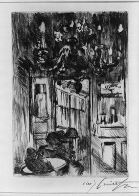 Lovis Corinth (German, 1858-1925). Under the Chandelier (Unter den Kronleuchter), 1916. Drypoint on laid paper, Image (Plate): 8 x 5 11/16 in. (20.3 x 14.4 cm). Brooklyn Museum, Gift of Benjamin Weiss, 55.113.17
