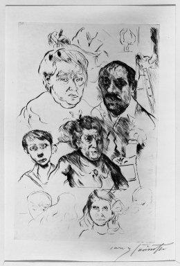 Lovis Corinth (German, 1858-1925). Various Heads and Self-Portrait (Verschiedene Köpfe und Selbstbildnis), 1915. Drypoint on van Gelder laid paper, Image (Plate): 11 7/8 x 7 11/16 in. (30.2 x 19.5 cm). Brooklyn Museum, Gift of Benjamin Weiss, 55.113.24