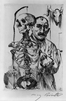 Lovis Corinth (German, 1858-1925). The Artist and Death II (Der Künstler und der Tod II), 1916. Drypoint on wove van Gelder paper, Image (Plate): 7 1/16 x 4 15/16 in. (17.9 x 12.5 cm). Brooklyn Museum, Gift of Benjamin Weiss, 55.113.26