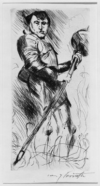Lovis Corinth (German, 1858-1925). Saint George (Der Heilige Georg), 1916. Drypoint on imitation laid Holland paper, Image (Plate): 10 x 4 15/16 in. (25.4 x 12.5 cm). Brooklyn Museum, Gift of Benjamin Weiss, 55.113.29