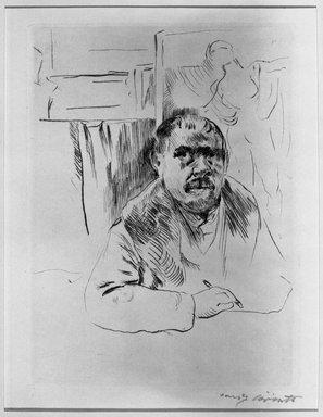 Lovis Corinth (German, 1858-1925). Self-Portrait with Fur Coat (Selbstbildnis im Pelz), 1913. Drypoint on van Gilder wove paper, Image (Plate): 8 5/8 x 6 3/8 in. (21.9 x 16.2 cm). Brooklyn Museum, Gift of Benjamin Weiss, 55.113.34