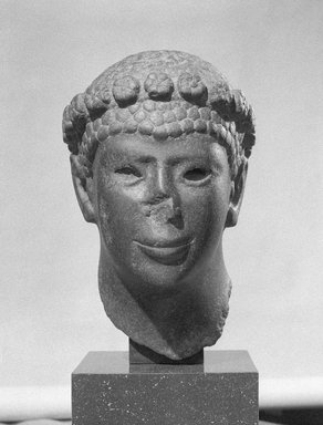 Head of a Man, 30 B.C.E.-14 C.E. Basalt, Height: 15 7/16 in. (39.2 cm). Brooklyn Museum, Charles Edwin Wilbour Fund, 55.120. Creative Commons-BY