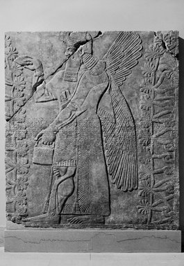 Assyrian. Relief of Winged Man-Headed Figure Facing Right with Basket and Fircone, ca. 883-859 B.C.E. Alabaster, 90 1/4 x 79 1/8 in. (229.2 x 201 cm). Brooklyn Museum, Purchased with funds given by Hagop Kevorkian and the Kevorkian Foundation, 55.152. Creative Commons-BY