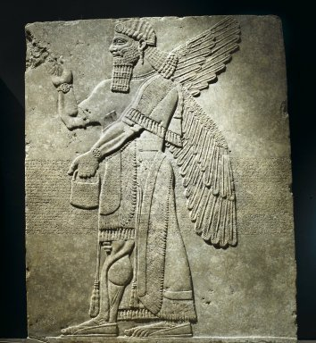 Assyrian. Relief of Winged Man-Headed Figure Facing Right, ca. 883-859 B.C.E. Alabaster, 91 x 74 5/8 in. (231.2 x 189.5 cm). Brooklyn Museum, Purchased with funds given by Hagop Kevorkian and the Kevorkian Foundation, 55.153. Creative Commons-BY