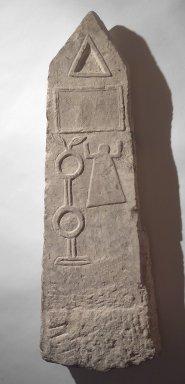 Carthaginian. Obelisk Form Stela, 2nd century B.C.E. (probably). Limestone, 37 5/8 x 12 3/16 x 6 1/8 in. (95.5 x 31 x 15.5 cm). Brooklyn Museum, Gift of Hagop Kevorkian, 55.157. Creative Commons-BY