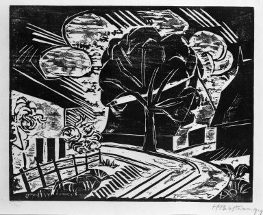 Max Pechstein (German, 1881-1955). At the Village Entrance (Am Dorfeingang), 1918. Woodcut on laid paper, Image: 12 15/16 x 16 1/8 in. (32.9 x 41 cm). Brooklyn Museum, Gift of Dr. F.H. Hirschland, 55.165.109