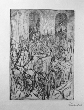 Jacob Steinhardt (1887-1968). Synagogue (Der Bethaus), 1913. Drypoint on buff paper, 7 1/16 x 5 1/16 in. (17.9 x 12.9 cm). Brooklyn Museum, Gift of Dr. F.H. Hirschland, 55.165.12