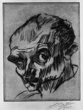 Ludwig Meidner (German, 1884-1966). Self-Portrait (Selbstbildnis), 1920. Drypoint on wove paper, Image (Plate): 7 9/16 x 5 15/16 in. (19.2 x 15.1 cm). Brooklyn Museum, Gift of Dr. F.H. Hirschland, 55.165.1. © Ludwig Meidner-Archive, Jüdisches Museum der Stadt Frankfurt am Main