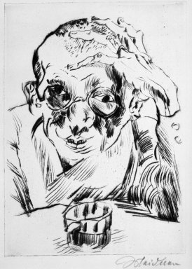 Ludwig Meidner (German, 1884-1966). Portrait of the Writer Max Hermann-Neisse (Bildnis des Schriftstellers Max Hermann-Neisse), 1919. Drypoint on laid paper, Image: 8 1/4 x 5 15/16 in. (21 x 15.1 cm). Brooklyn Museum, Gift of Dr. F.H. Hirschland, 55.165.22. © Ludwig Meidner-Archive, Jüdisches Museum der Stadt Frankfurt am Main