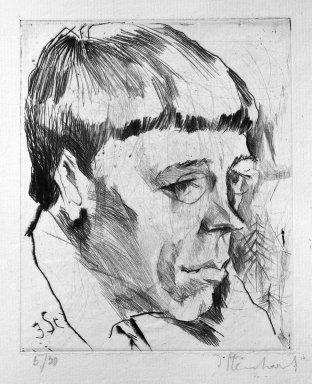 Jacob Steinhardt (1887-1968). Portrait of a Poet (Rudolph Börsch?) (Porträt eines Dichters [Rudolph Börsch?]), 1914. Drypoint on laid paper, Image (Plate): 5 5/16 x 4 7/16 in. (13.5 x 11.3 cm). Brooklyn Museum, Gift of Dr. F.H. Hirschland, 55.165.23