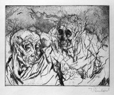 Jacob Steinhardt (1887-1968). Mortality (Vergänglichkeit), 1914. Drypoint and roulette on Japan paper, Image (Plate): 4 3/8 x 5 11/16 in. (11.1 x 14.4 cm). Brooklyn Museum, Gift of Dr. F.H. Hirschland, 55.165.42