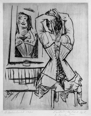 Paul Kleinschmidt (German, 1883-1949). Woman Seated Before a Mirror (Frau, sitzende vor Spiegel), 1921. Drypoint on wove paper, Sheet: 12 13/16 x 9 5/16 in. (32.5 x 23.7 cm). Brooklyn Museum, Gift of Dr. F.H. Hirschland, 55.165.43