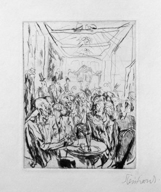 Jacob Steinhardt (1887-1968). Coffeehouse (Cafehaus), 1913. Drypoint on buff wove paper, Image (Plate): 3 3/4 x 2 7/8 in. (9.5 x 7.3 cm). Brooklyn Museum, Gift of Dr. F.H. Hirschland, 55.165.53