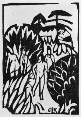Ernst Ludwig Kirchner (German, 1880-1938). Bathers (Badende), 1912. Woodcut on heavy wove paper, Sheet: 7 1/2 x 5 in. (19.1 x 12.7 cm). Brooklyn Museum, Gift of Dr. F.H. Hirschland, 55.165.5
