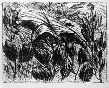 Ernst Barlach (German, 1870-1938). The Shot (Der Schuss), 1919. Lithograph on wove paper, Sheet: 15 x 19 3/16 in. (38.1 x 48.7 cm). Brooklyn Museum, Gift of Dr. F.H. Hirschland, 55.165.74