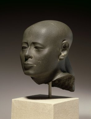 Head of Wesirwer, Priest of Montu, ca. 380-342 B.C.E. Schist, 6 x 3 1/2 x 4 1/2 in. (15.2 x 8.9 x 11.4 cm). Brooklyn Museum, Charles Edwin Wilbour Fund, 55.175. Creative Commons-BY