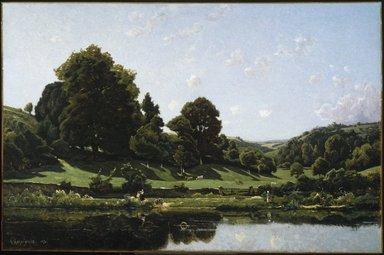 Henri-Joseph Harpignies (French, 1819-1916). A Meadow in the Bourbonnais, Morning (Une Prairie du Bourbonnais, par un effet de matin), 1876. Oil on canvas, 44 x 66 in. (111.8 x 167.6 cm). Brooklyn Museum, Gift of Mrs. Thomas F. Walsh, 55.18