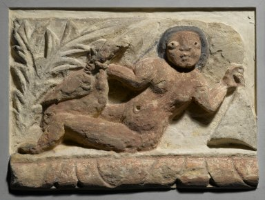 Frieze Fragment with Leda and the Swan, 4th-5th century C.E., with 20th century alterations. Limestone, painted, 8 13/16 x 12 1/16 x 3 1/16 in. (22.4 x 30.7 x 7.8 cm). Brooklyn Museum, Charles Edwin Wilbour Fund, 55.2.1. Creative Commons-BY