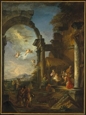 Giovanni Paolo Panini (Italian, 1691-1765). Adoration of the Shepherds, ca. 1755. Oil on canvas, 38 x 28 7/8 in. (96.5 x 73.3cm). Brooklyn Museum, Gift of Mrs. Thomas F. Walsh, 55.20