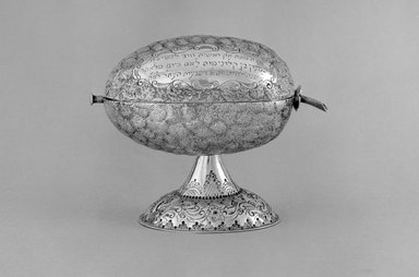 Box in the Form of an Ethrog, ca. 1900 after 17th-century model. Silver, 4 5/8 x 4 3/4 in. (11.7 x 12.1 cm). Brooklyn Museum, Purchased with funds given by the Jerome Levy Foundation, 55.224. Creative Commons-BY