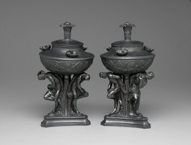 Wedgwood (1759-present). Pair of Oil Lamps. Basalte Brooklyn Museum, Gift of Emily Winthrop Miles, 55.25.3a-b. Creative Commons-BY