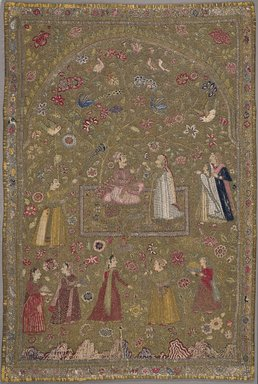 Textile Hanging, early 17th century. Silk, metal, cotton, Textile dims, observed 2006 :: 71 5/8 x 45 in. (181.9 x 114.3 cm). Brooklyn Museum, Gift of Dr. and Mrs. Frank L. Babbott, Jr., 55.33.1