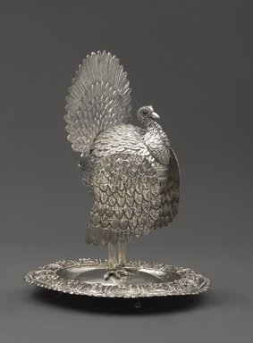 Container in the Shape of a Turkey, early 19th century. Silver alloy and red stones, 10 3/4 x 7 1/2 x 8 5/8 in. (27.3 x 19.1 x 21.9cm). Brooklyn Museum, Bequest of Charlotte R. Stillman, 55.36.4. Creative Commons-BY