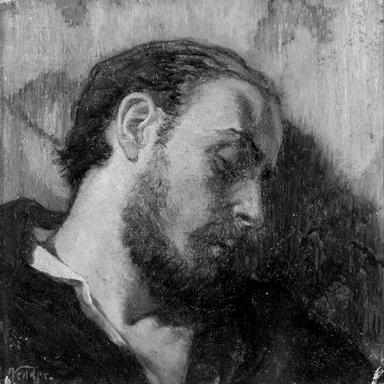 Elihu Vedder (American, 1836-1923). Study for the Head of the Dead Alchemist, 1866. Oil on board, 7 5/8 x 7 9/16 in. (19.4 x 19.2 cm). Brooklyn Museum, Gift of the American Academy of Arts and Letters, 55.41
