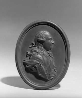 Wedgwood & Bentley (1759-present). Medallion,  George III, ca.1780. Basaltes, 4 1/16 in. x 3 1/4 in. Brooklyn Museum, Gift of Emily Winthrop Miles, 55.9.7b. Creative Commons-BY