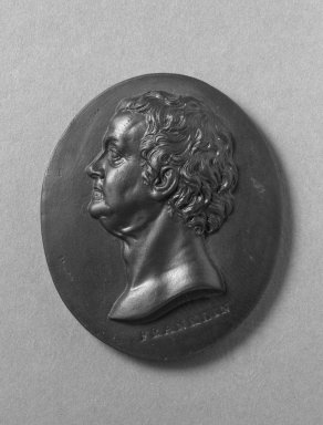 Wedgwood & Bentley (1759-present). Medallion, Ben Franklin, ca.1775. Basaltes, 2 in. x 1 7/8 in. Brooklyn Museum, Gift of Emily Winthrop Miles, 55.9.9. Creative Commons-BY