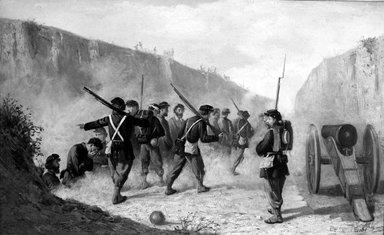 Unknown. Civil War Scene, ca. 1861-1866. Oil on canvas, Frame: 25 x 36 in. (63.5 x 91.4 cm). Brooklyn Museum, Dick S. Ramsay Fund, 55.90