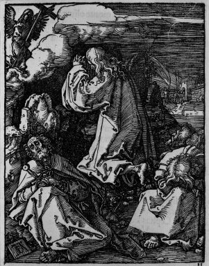 Albrecht Dürer (German, 1471-1528). Christ on the Mount of Olives, 1509-1511; edition of 1511. Woodcut on laid paper, Sheet: 5 3/16 x 4 in. (13.2 x 10.2 cm). Brooklyn Museum, Gift of Mrs. Howard M. Morse, 56.105.11