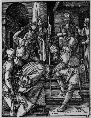 Albrecht Dürer (German, 1471-1528). Christ Before Annas, 1509-1511; edition of 1511. Woodcut on laid paper, Sheet: 5 3/16 x 4 1/16 in. (13.2 x 10.3 cm). Brooklyn Museum, Gift of Mrs. Howard M. Morse, 56.105.13