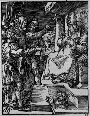 Albrecht Dürer (German, 1471-1528). Christ Before Caiaphas, 1509-1511; edition of 1511. Woodcut on laid paper, Sheet: 5 3/16 x 4 in. (13.2 x 10.2 cm). Brooklyn Museum, Gift of Mrs. Howard M. Morse, 56.105.14