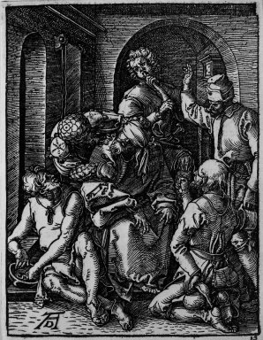 Albrecht Dürer (German, 1471-1528). Mocking of Christ, 1509-1511; edition of 1511. Woodcut on laid paper, Sheet: 5 3/16 x 4 in. (13.2 x 10.2 cm). Brooklyn Museum, Gift of Mrs. Howard M. Morse, 56.105.15