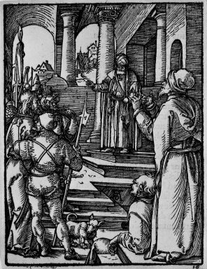 Albrecht Dürer (German, 1471-1528). Christ before Pilate, 1509-1511; edition of 1511. Woodcut on laid paper, Sheet: 5 1/4 x 4 in. (13.3 x 10.2 cm). Brooklyn Museum, Gift of Mrs. Howard M. Morse, 56.105.16