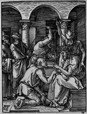 Albrecht Dürer (German, 1471-1528). Christ Crowned with Thorns, 1509-1511; edition of 1511. Woodcut on laid paper, Sheet: 5 3/16 x 4 in. (13.2 x 10.2 cm). Brooklyn Museum, Gift of Mrs. Howard M. Morse, 56.105.19