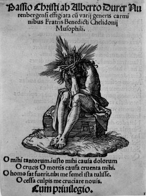 Albrecht Dürer (German, 1471-1528). Man of Sorrows Seated, 1509-1511; edition 1511. Woodcut on laid paper, Image: 3 3/8 x 3 3/16 in. (8.6 x 8.1 cm). Brooklyn Museum, Gift of Mrs. Howard M. Morse, 56.105.1
