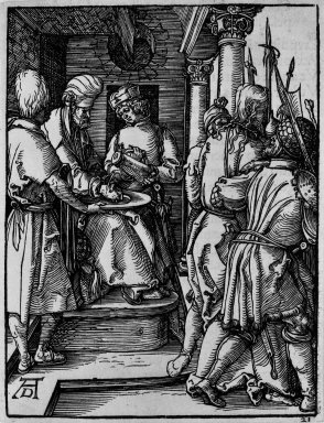 Albrecht Dürer (German, 1471-1528). Pilate Washing his Hands, 1509-1511; edition of 1511. Woodcut on laid paper, Sheet: 5 1/4 x 4 in. (13.4 x 10.2 cm). Brooklyn Museum, Gift of Mrs. Howard M. Morse, 56.105.21