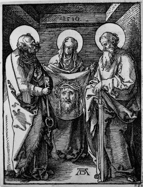 Albrecht Dürer (German, 1471-1528). Saint Veronica Between Saints Peter and Paul, 1510; edition of 1511. Woodcut on laid paper, Sheet: 5 1/8 x 5 1/16 in. (13 x 12.9 cm). Brooklyn Museum, Gift of Mrs. Howard M. Morse, 56.105.23