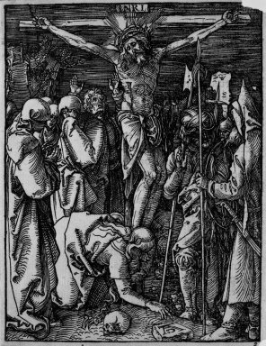 Albrecht Dürer (German, 1471-1528). Crucifixion, 1509-1511; edition of 1511. Woodcut on laid paper, Sheet: 5 1/4 x 4 in. (13.4 x 10.2 cm). Brooklyn Museum, Gift of Mrs. Howard M. Morse, 56.105.25