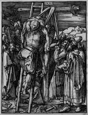 Albrecht Dürer (German, 1471-1528). Descent from the Cross, 1509-1511; edition of 1511. Woodcut on laid paper, Sheet: 5 3/16 x 4 1/16 in. (13.2 x 10.3 cm). Brooklyn Museum, Gift of Mrs. Howard M. Morse, 56.105.27