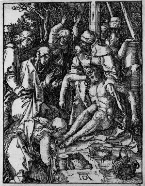 Albrecht Dürer (German, 1471-1528). Lamentation, 1509-1511; edition of 1511. Woodcut on laid paper, Sheet: 5 1/8 x 4 in. (13 x 10.2 cm). Brooklyn Museum, Gift of Mrs. Howard M. Morse, 56.105.28