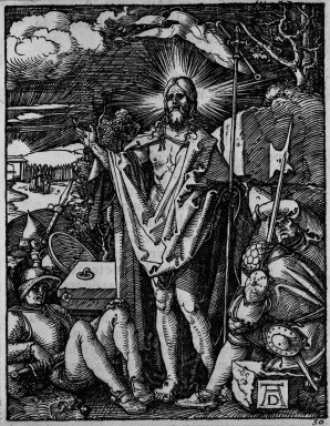 Albrecht Dürer (German, 1471-1528). Resurrection, 1509-1511; edition of 1511. Woodcut on laid paper, Image: 4 1/16 x 3 13/16 in. (10.3 x 9.7 cm). Brooklyn Museum, Gift of Mrs. Howard M. Morse, 56.105.30