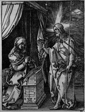 Albrecht Dürer (German, 1471-1528). Christ Appearing to his Mother, 1509-1511; edition of 1511. Woodcut on laid paper, Image: 4 7/8 x 3 3/4 in. (12.4 x 9.5 cm). Brooklyn Museum, Gift of Mrs. Howard M. Morse, 56.105.31