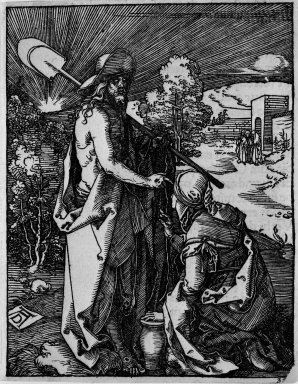 Albrecht Dürer (German, 1471-1528). Noli Me Tangere, 1509-1511; edition of 1511. Woodcut on laid paper, Image: 4 15/16 x 3 7/8 in. (12.5 x 9.9 cm). Brooklyn Museum, Gift of Mrs. Howard M. Morse, 56.105.32