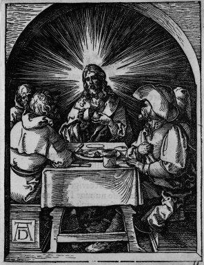Albrecht Dürer (German, 1471-1528). Christ in Emmaus, 1509-1511. Woodcut on laid paper, Sheet: 5 3/16 x 5 1/16 in. (13.2 x 12.8 cm). Brooklyn Museum, Gift of Mrs. Howard M. Morse, 56.105.33