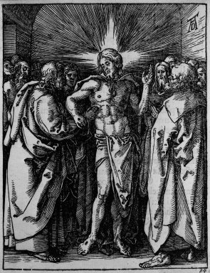 Albrecht Dürer (German, 1471-1528). Doubting Thomas, 1509-1511; edition of 1511. Woodcut on laid paper, Image: 5 x 3 3/4 in. (12.7 x 9.5 cm). Brooklyn Museum, Gift of Mrs. Howard M. Morse, 56.105.34