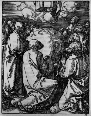 Albrecht Dürer (German, 1471-1528). Ascension, 1509-1511; edition of 1511. Woodcut on laid paper, Sheet: 5 1/8 x 4 in. (13 x 10.2 cm). Brooklyn Museum, Gift of Mrs. Howard M. Morse, 56.105.35