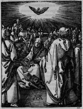 Albrecht Dürer (German, 1471-1528). The Small Passion: Pentecost, 1509-1511; edition of 1511. Woodcut on laid paper, Image: 4 15/16 x 3 7/8 in. (12.5 x 9.8 cm). Brooklyn Museum, Gift of Mrs. Howard M. Morse, 56.105.36